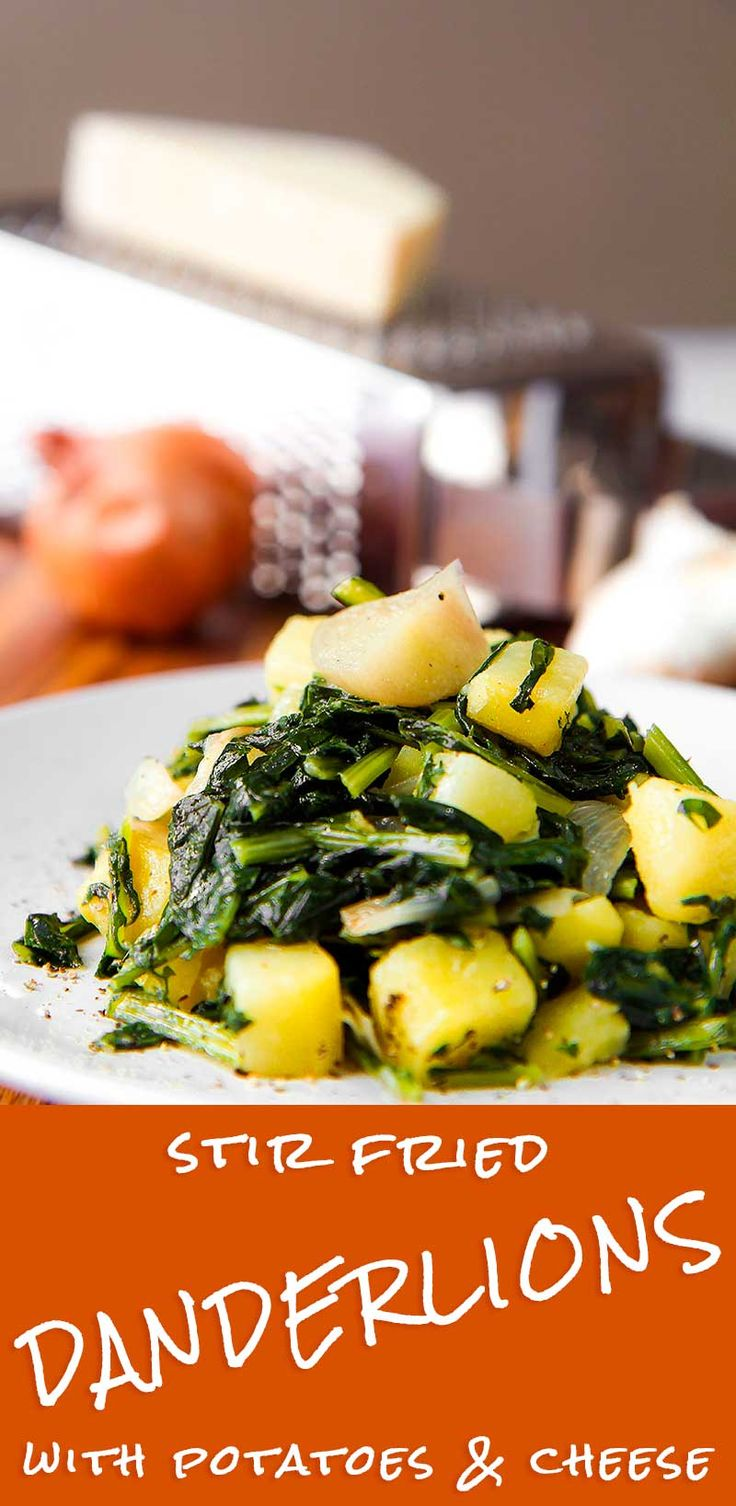 STIR FRIED DANDELIONS AND POTATOES with cheese | Recipe | Healthy ...
