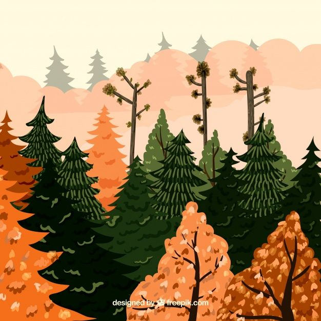 Free vector Hand drawn background with autumnal landscape #22591