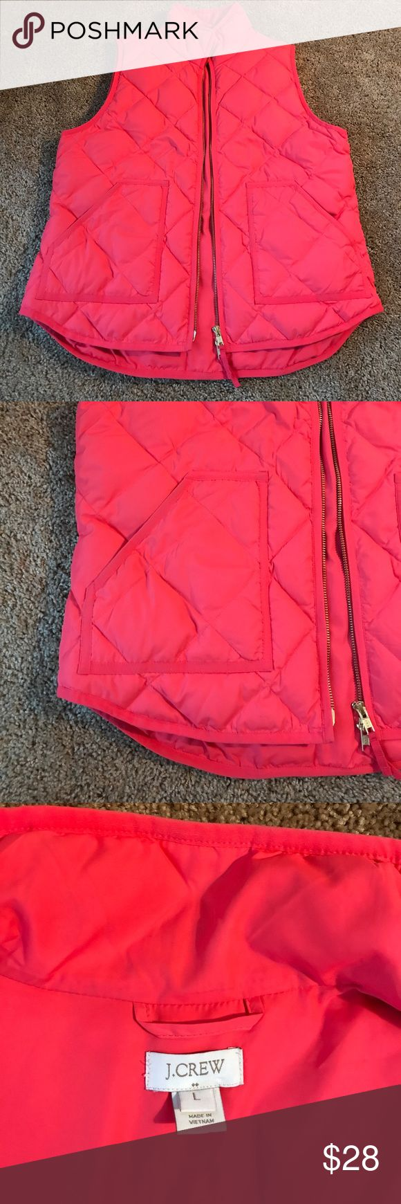 J Crew Pink Vest J. Crew winter vest in bright pink, size large. Super comfy, not too puffy so doesn't add lots of volume to your look! J. Crew Jackets & Coats Vests