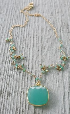 Sea Blue Chalcedony Necklace with Chrysoprace Accents 14kt Gold-necklace, wirewrapped, sea blue chalcedony, chrysoprase, 14kt gold, cushion cut pendant, aqua, resort, tippy stockton