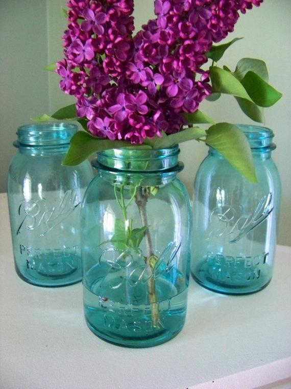 Blue glass ball mason jars quart by
