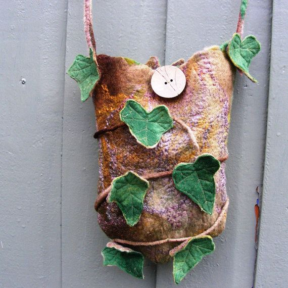Ancient Ivy Faerie Bag Purse Pouch Hand Rolled Felt by folkowl