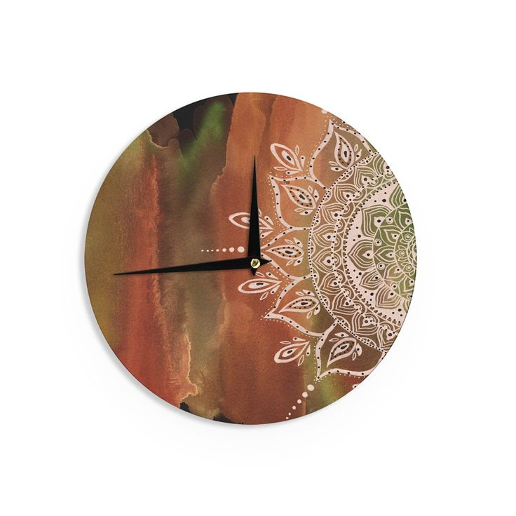 Kess InHouse Li Zamperini Autumn Mandala Orange Brown Wall Clock