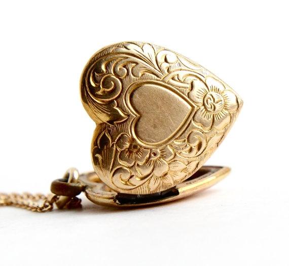 Vintage Heart Locket Necklace 12k Gold Filled On Silver