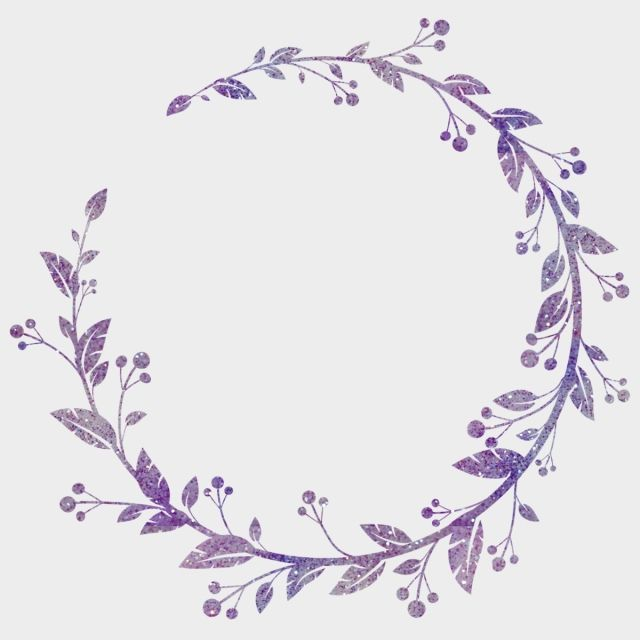 Hand Painted Wreath Watercolor Transparent Floral Purple Wreath
