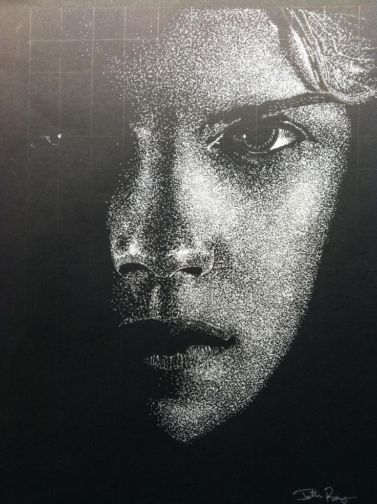Pointillism drawing done of Emma Watson from one of the Deathly Hallows Part 1 posters. White ink on black paper.