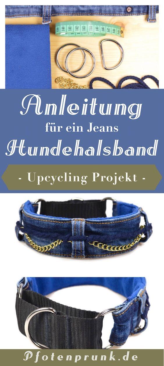 Kostenlose Anleitung für ein Upcycling Projekt aus alten Jeans! DIY Halsband anfängertauglich erklärt von Pfotenprunk - Hundesachen Selbermachen!