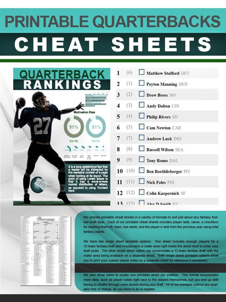 Printable Quarterbacks Cheat Sheet Fantasy football game