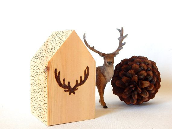 Antlers pyrography wooden house.  Cabin decor. by DecorAsylum