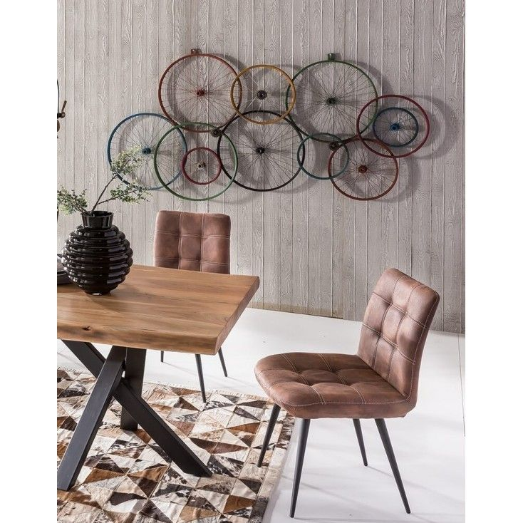 Wall featuring our recycled bike wheels. Crazupcyvking I