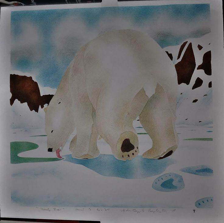 Inuit made polar bear print by Andrew Qappik