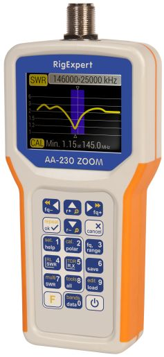 RigExpert AA-230 ZOOM - Antenna and Cable Analyzer   100 kHz to 230 MHz          The analyzer is designed for measuring SWR (Standing Wave Ratio), Return Loss, Cable Loss, of cable and antenna systems from 100 kHz to