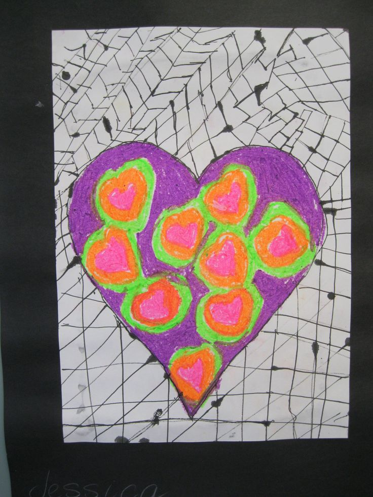 Oil pastel and indian ink hearts.