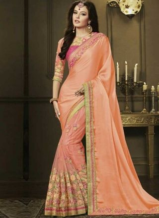 Peach Embroidery Work Silk Net Designer Wedding Fancy Half Sarees