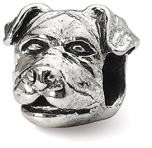 ICECARATS DESIGNER JEWELRY 925 STERLING SILVER CHARM FOR BRACELET ROTTWEILER HEAD BEAD  Material Purity : 925  Finish : Antiqued  Length : 8.18 mm  Bead opening Diameter : 4 mm  Bead type : Themed  Feature : Solid  Manufacturing Process : Casted  Material : Sterling Silver  Width : 10.00 mm  Product Type : Jewelry  Jewelry Type : Beads  Material Color : White  OUR MISSION & BELIEFS Our mission at IceCarats is to celebrate our customers and enhance their lives journey honoring lifes memorable…