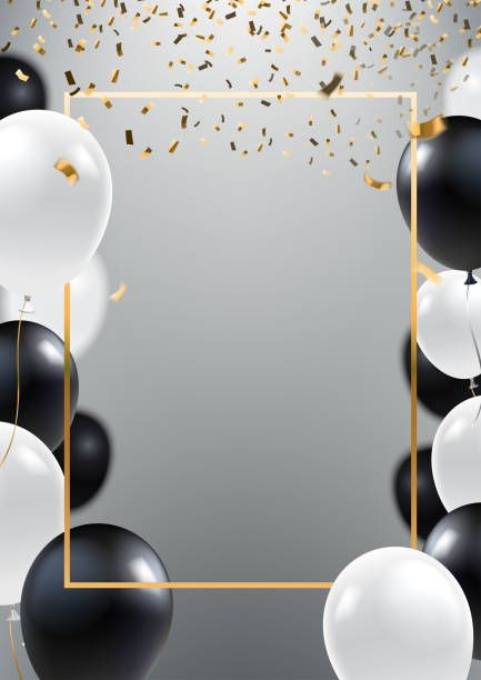 abstract ceremonial silver background with black and white balloons  gold frame and falling