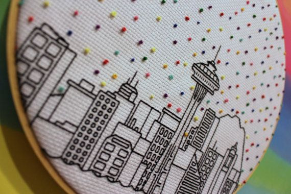 Hello Seattle Confetti Skyline Cross Stitch by ErinmcmomCustoms