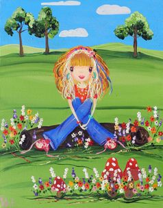 Enjoying the Moment from my whimsical girls artworks by Peta E. More info about me at my website www.petae.com.au