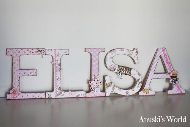 Nombre de madera decorado para Elisa - Anuski´s World