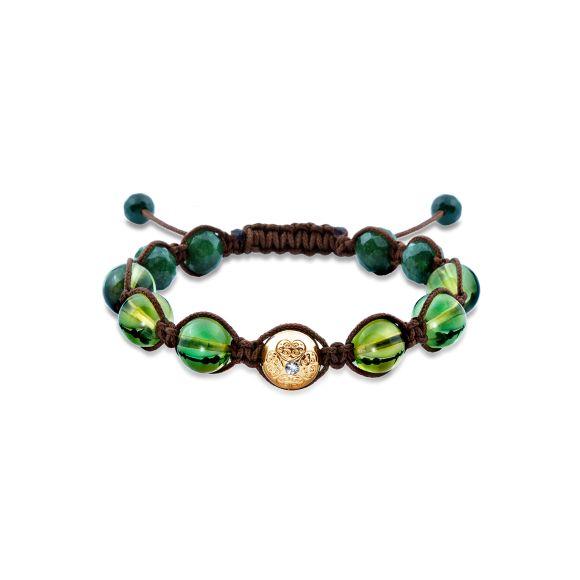 Armbånd med caribisk grønt rav og diamanter.