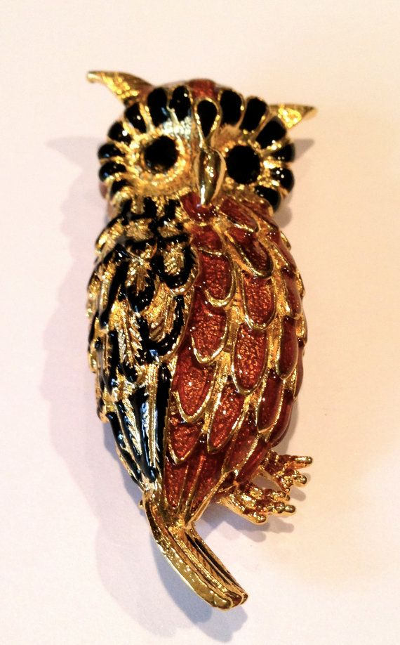 Vintage gold owl pin  autumn Thanksgiving by oodlesofrandomstuff