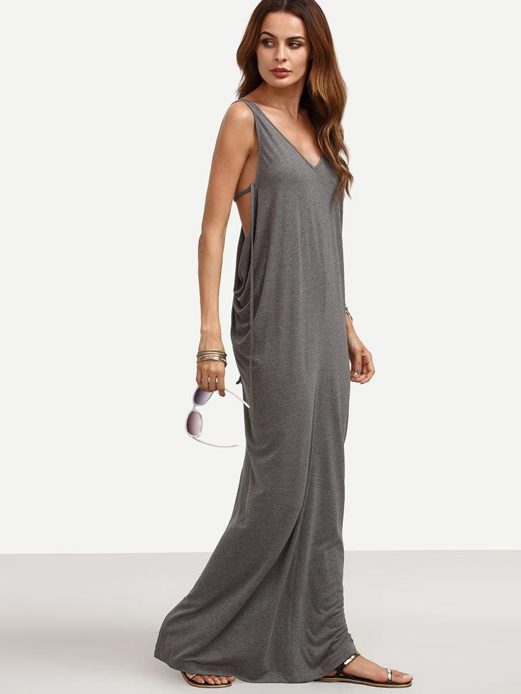 Тёмно-серое макси платье с разрезом