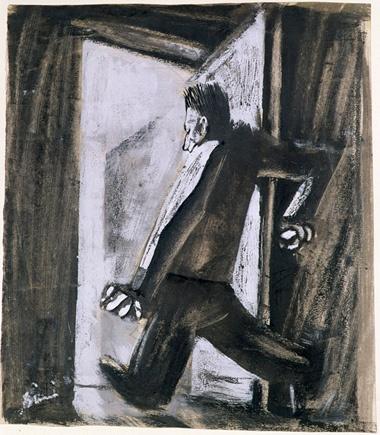 Mario Sironi - Senza titolo (Uomo che apre la porta) -