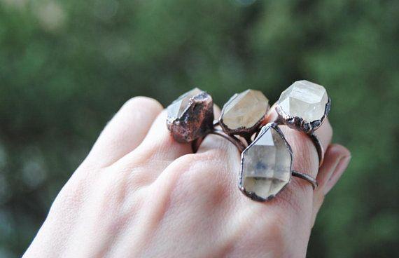 Raw crystal ring, herkimer diamond ring, april birthstone ring, crystal quartz ring, tibetan quartz ring, raw stone ring, boho jewelry