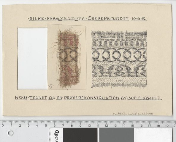 Silk Fabric 1, fragment 35. Watercolour of one of the silk fragments from the Oseberg ship burial, and a reconstruction of it's pattern. By Sofie Krafft. Museum : Kulturhistorisk museum, UiO,  MuseumNo : C55000_377_12_1,  InventoryNo : Saksnr05_8823_2_637a-b_C55000