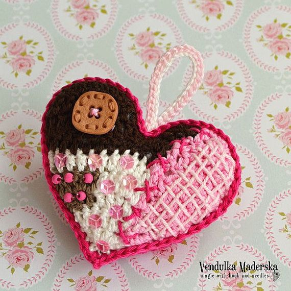 Crochet pattern  patchwork  heart ornament DIY by VendulkaM