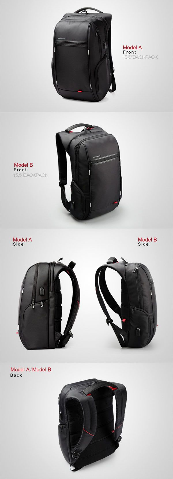 KINGSONS Men Women 13/15/17 Inches Computer Bag Anti-theft Travel Backpack with USB Charging Port
