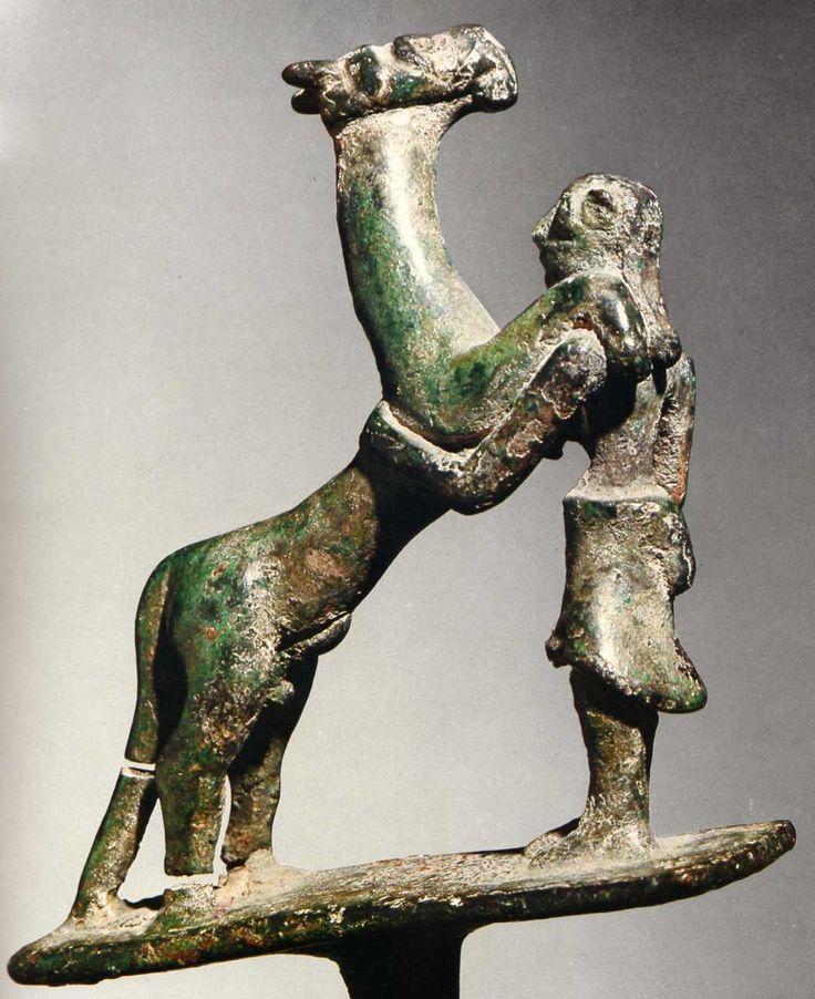 Hittite, bronze horse (?) and man, Yozgat, 2200-2000 BC, Museum of Anatolian Civilisations, Ankara