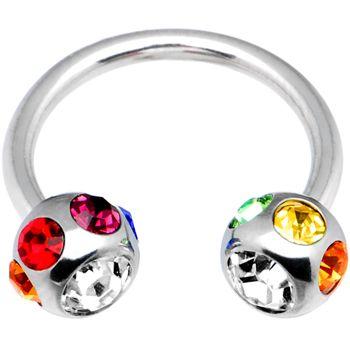 "14 Gauge Rainbow 7-Gem Horseshoe Circular Barbell-1/2"" 6mm | Body Candy Body Jewelry"