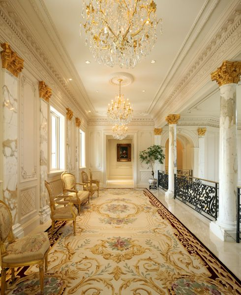 Savonnerie carpet in upper foyer of Palais des Anges, a 35,000 sq ft Beaux Arts…