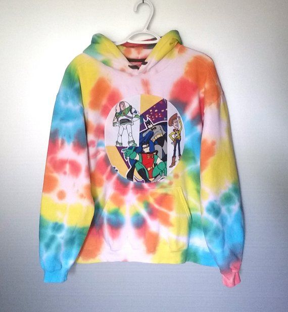 Cartoon Tie Dye Sweatshirt Rainbow Large Mens Womens Hoodie Patch Clothes Colorful Clothing 90s Kid Nostalgia Batman Toy Story Buzz Woody