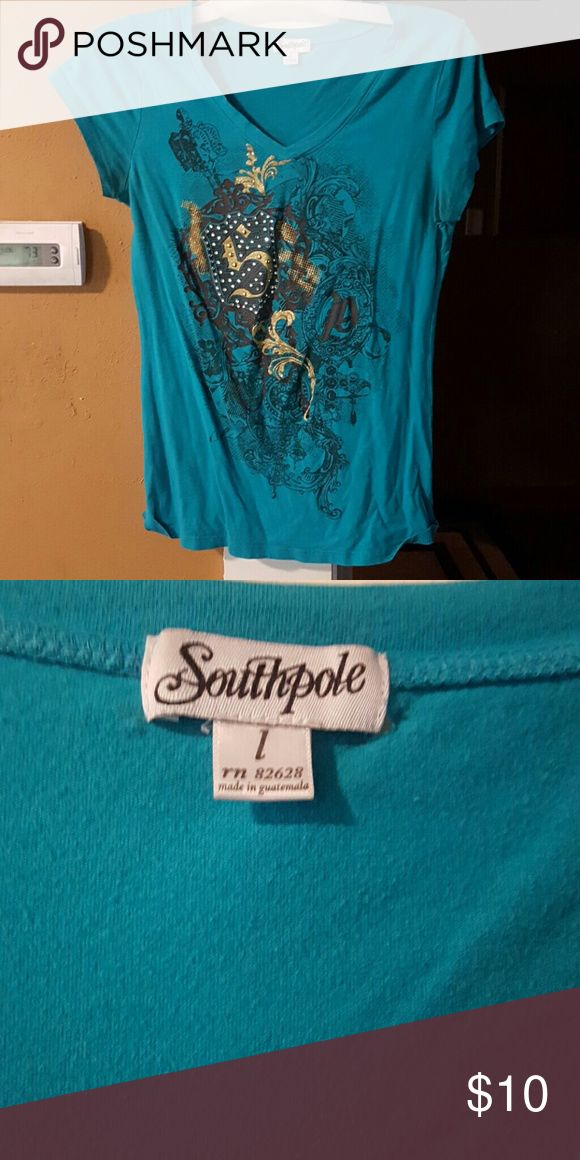 South Pole Turquoise shirt size Large South Pole Turquoise shirt size Large. Does have a small whole by the name tag. Can see in pic 2. South Pole Tops Tees - Short Sleeve