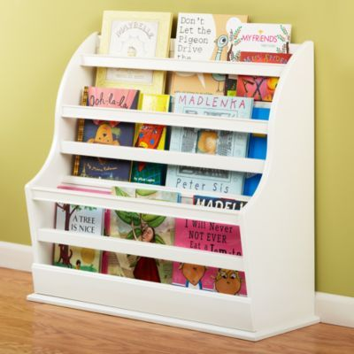 This wooden 3-bin bookcase seems to be sturdier than the fabric sling style. Land of Nod $249