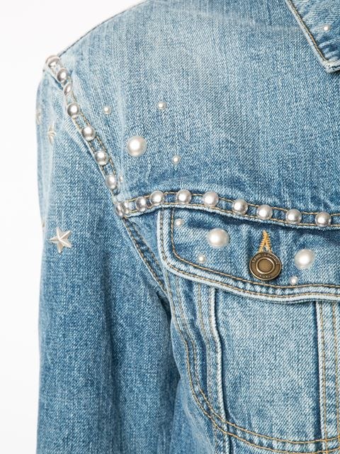 Shop Saint Laurent studded denim jacket in Kirna Zabête from the world's best independent boutiques at farfetch.com. Shop 400 boutiques at one address.