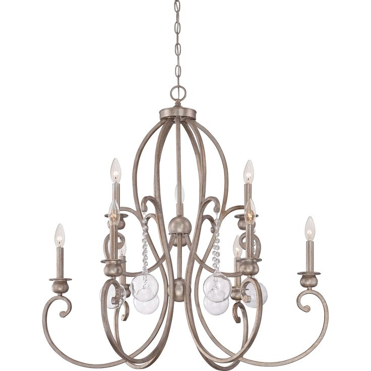 Quoizels Ambrose Vintage Gold Two Tier 9 Light Chandelier With Clear Glass