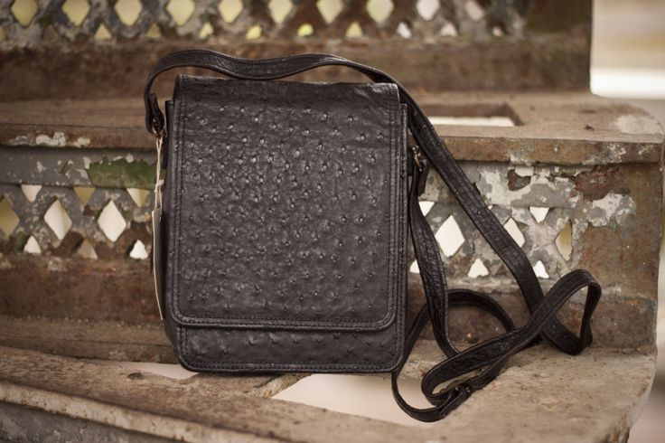 man bag from natural ostrich leather