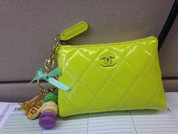 chanel keychain wallet. chanel key pouch + laduree keychain. keychain wallet