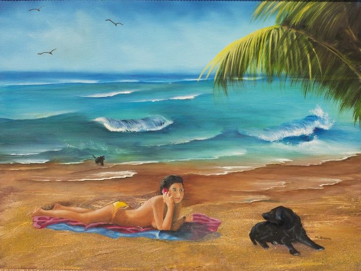 Julie's Dogs  Price	Not for sale  Dimensions	18.000 x 24.000 inches Original oil painting of Julie sunbathing topless on beach with her two Labradors dogs, Nova and Milo while enjoying a cell phone conversation with her life-long partner. seascape painting, oil painting, landscape painting, ocean painting, beach painting, topless painting, dog painting, palm tree