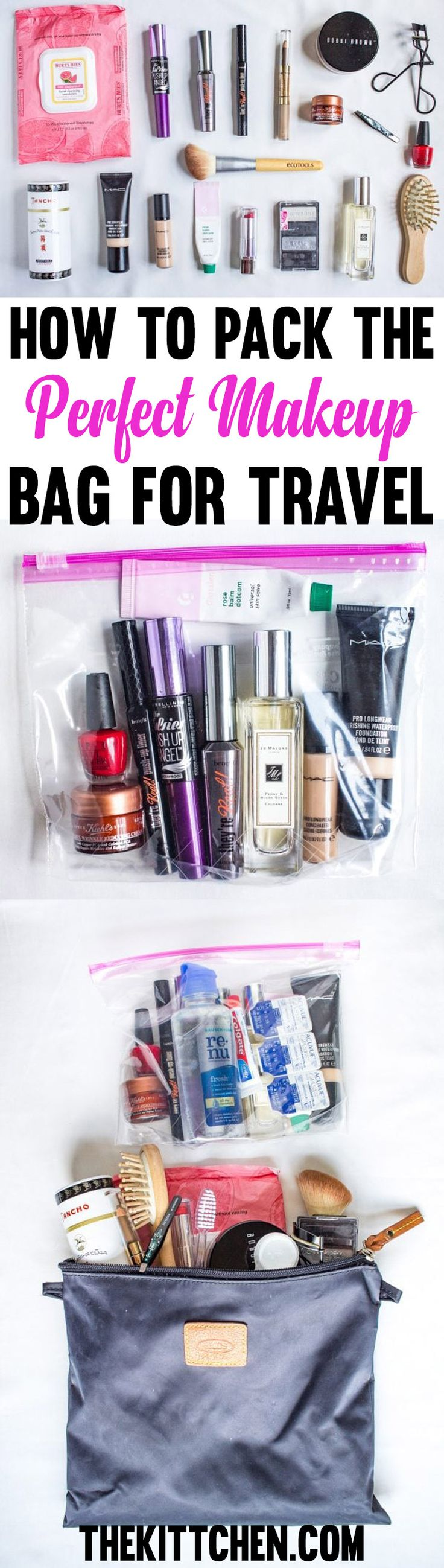 Have no idea what make up to bring on your upcoming trip? I share the details of what's in my make up bag plus how I pack it in a travel friendly way.  ***************************************** Travel tips and tricks | Travel tips packing | Travel tips international | Packing tips for vacation | Travel makeup bag | Travel makeup essentials | Travel makeup bag essentials
