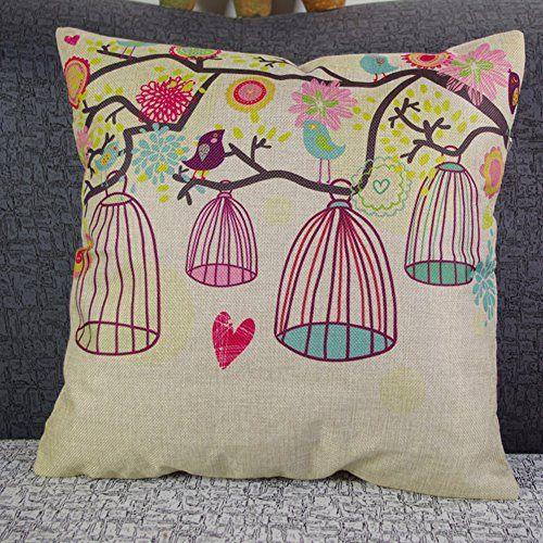 Vogel und Vogelkäfig Kissenbezug Lendenkissen Pillowcase…