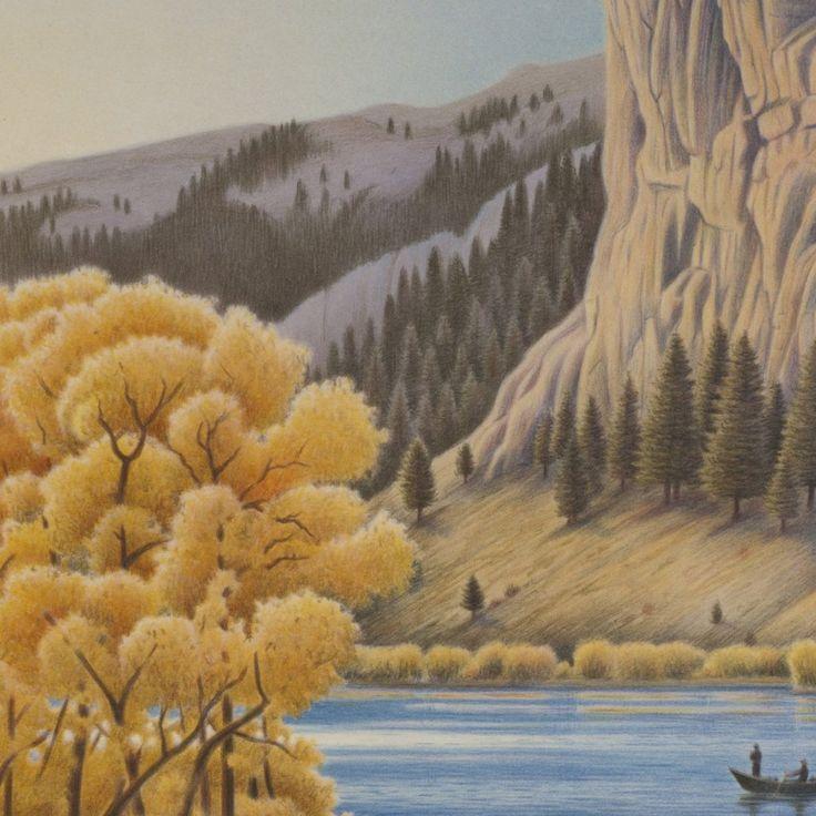 Missouri River Gold - Upper Missouri River Suite #art #artist #lithograph #missouri-river #montana #monte-dolack #river #upper-missouri-river-suite