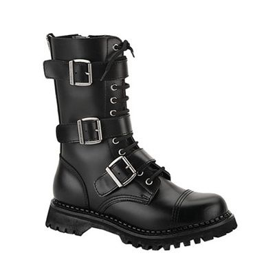 Demonia RIOT-12 Black Leather Mens Combat Boots - Demonia Shoes - SinisterSoles.com