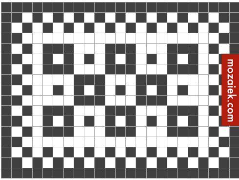 dit patroon kan gemaakt worden met tegels van 1,2x1,2, 2×2, 5×5, 7×7, 10×10, 15×15, 20×20, 30×30 of 120×120 van kabouterhut tot paleis