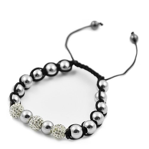 Stainless Steel Clear Pave Crystal Shamballa Bracelet: Steel Clear, Bracelets, Clear Pave, Buddhist Beads, Stainless Steel, Crystal Buddhist
