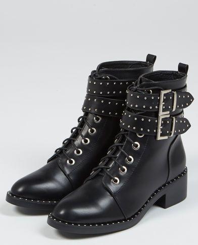 Bottines rocks à lacets noir