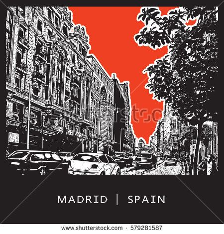 Madrid, Spain. European street with big houses, cars, trees and people.   Vector graphic illustration.